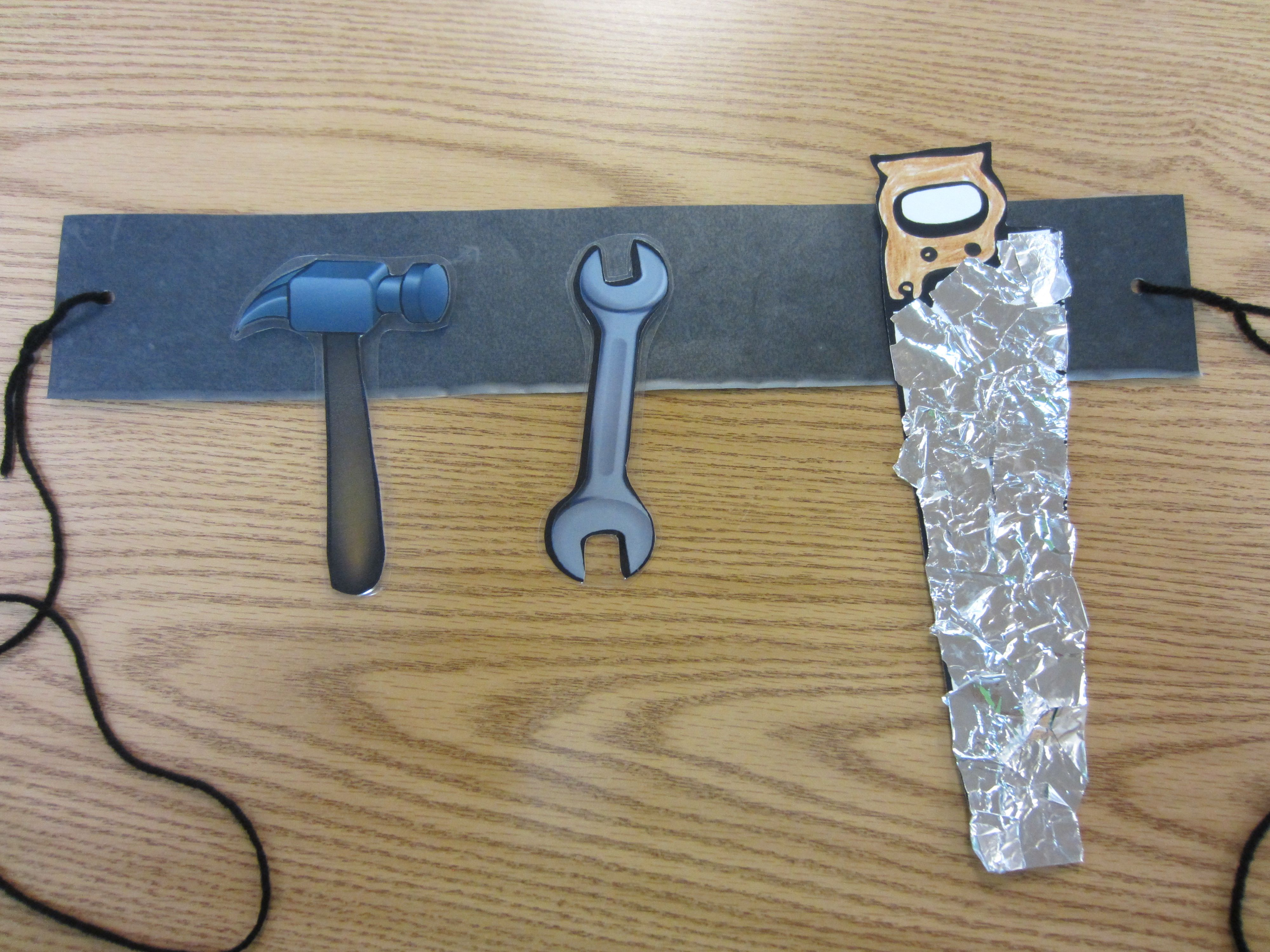 Tear fall colored construction paper into small pieces and glue - Tool Belt Craft You Will Need A Laminated 3 X18 Strip Of Black Construction Paperthe