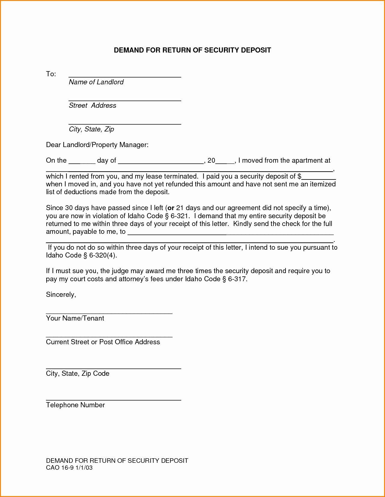 Security Deposit Refund Letter Template Inspirational 8 Rental Deposit Return Receipt Letter Templates Invoice Template Lettering