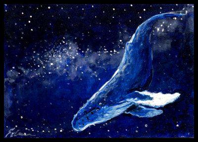Aceo Original Painting Sci Fi Fantasy Star Whale Space Trekker E