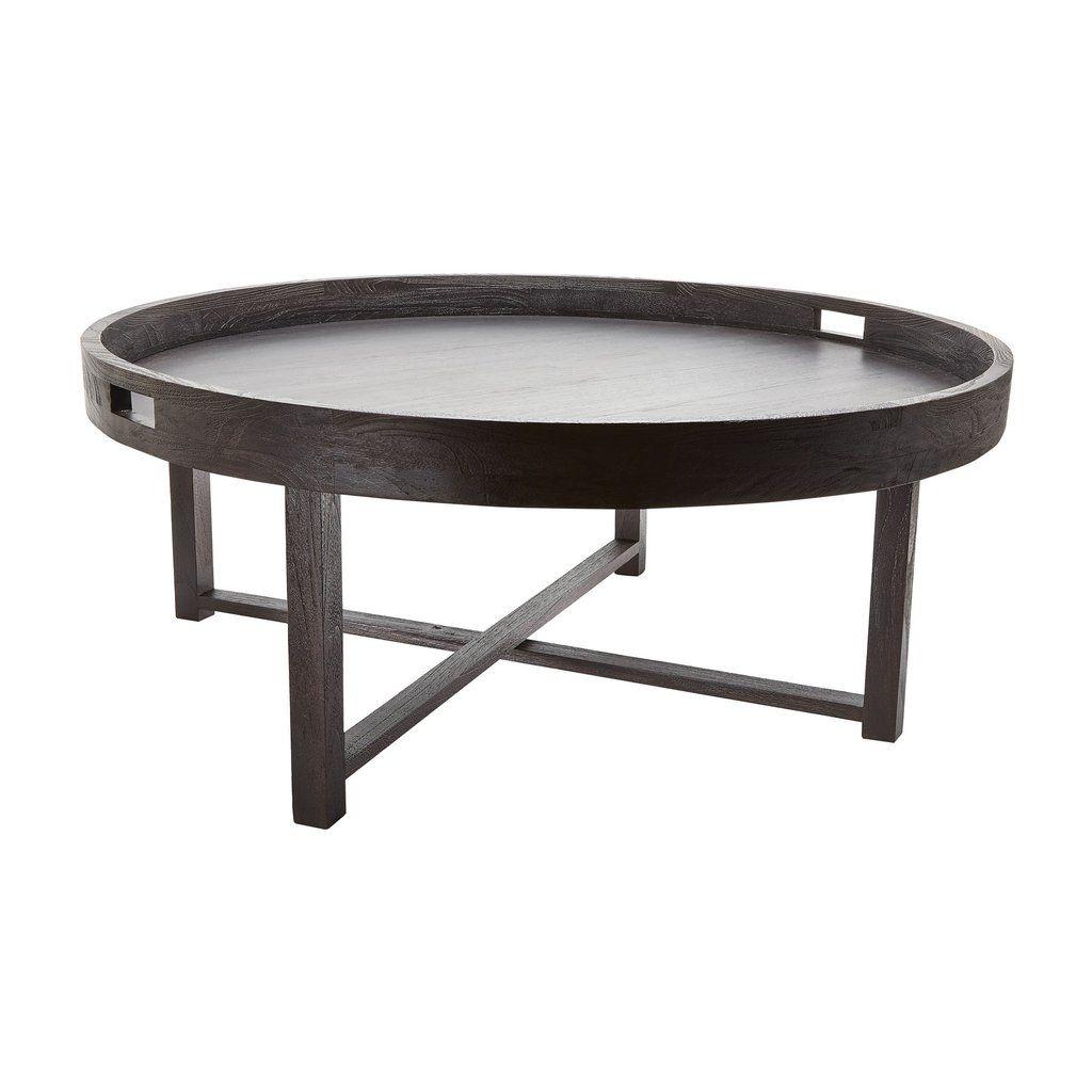 Round Black Teak Coffee Table Tray Design By Lazy Susan Round