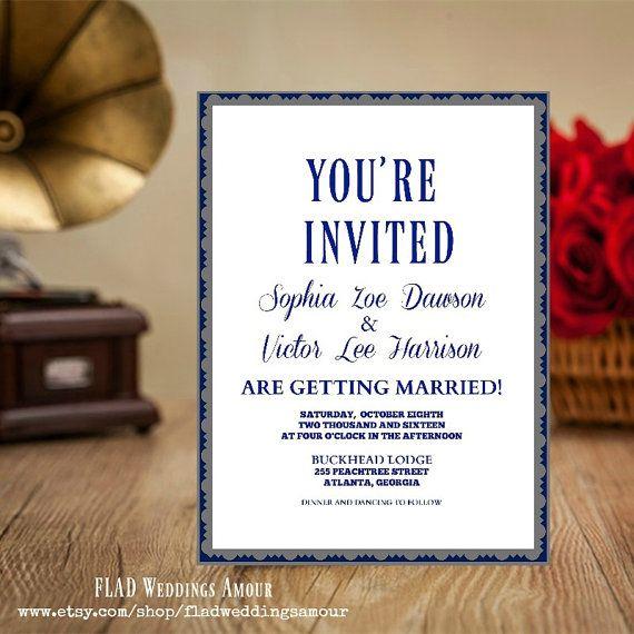 ModernBlue Gray & White Wedding Invitation by FLADWeddingsAmour