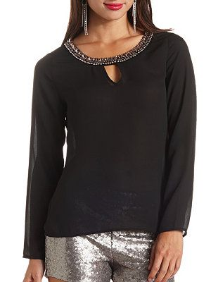 ff5c324154648c Bead   Stone Embellished Long Sleeve Chiffon Top  Charlotte Russe ...