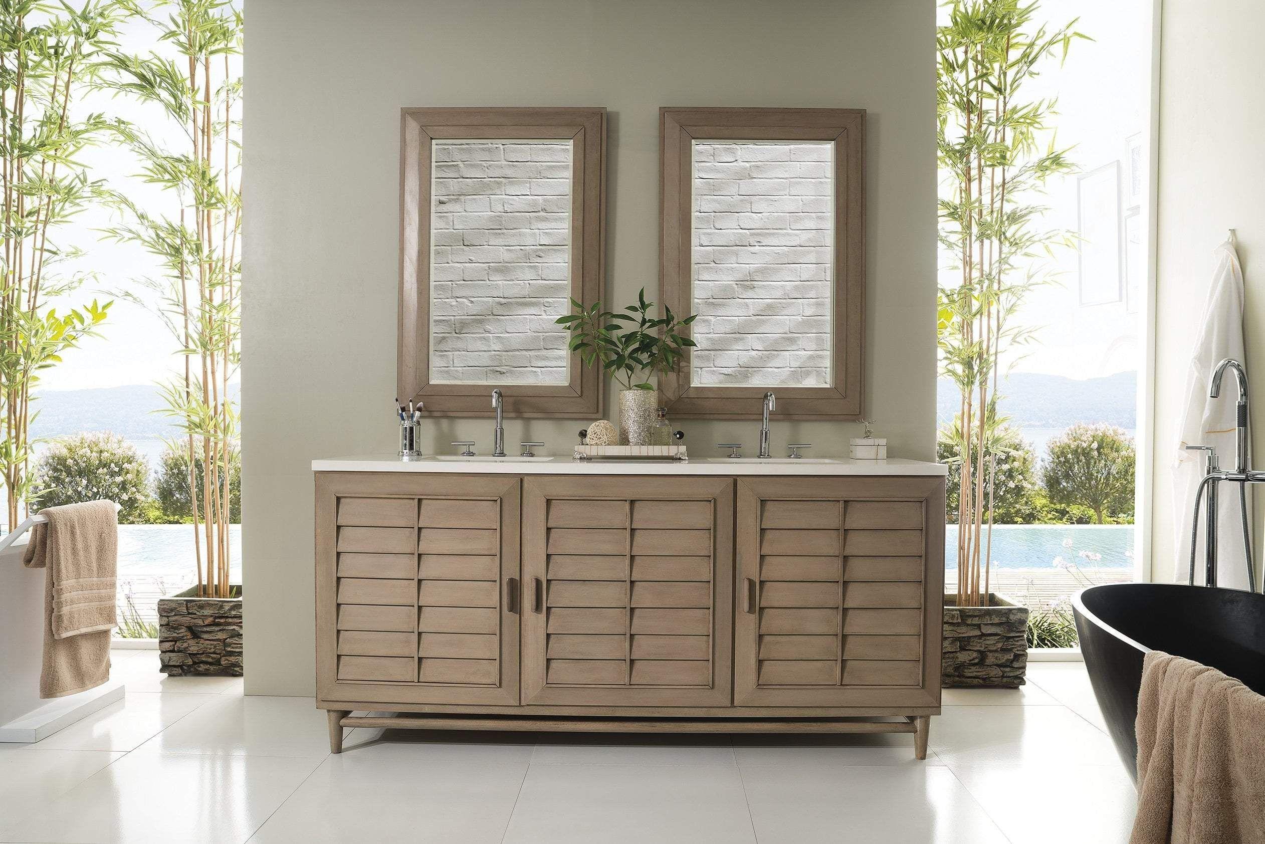 Best Portland 72 Double Vanity White Washed Walnut Bathroom 400 x 300