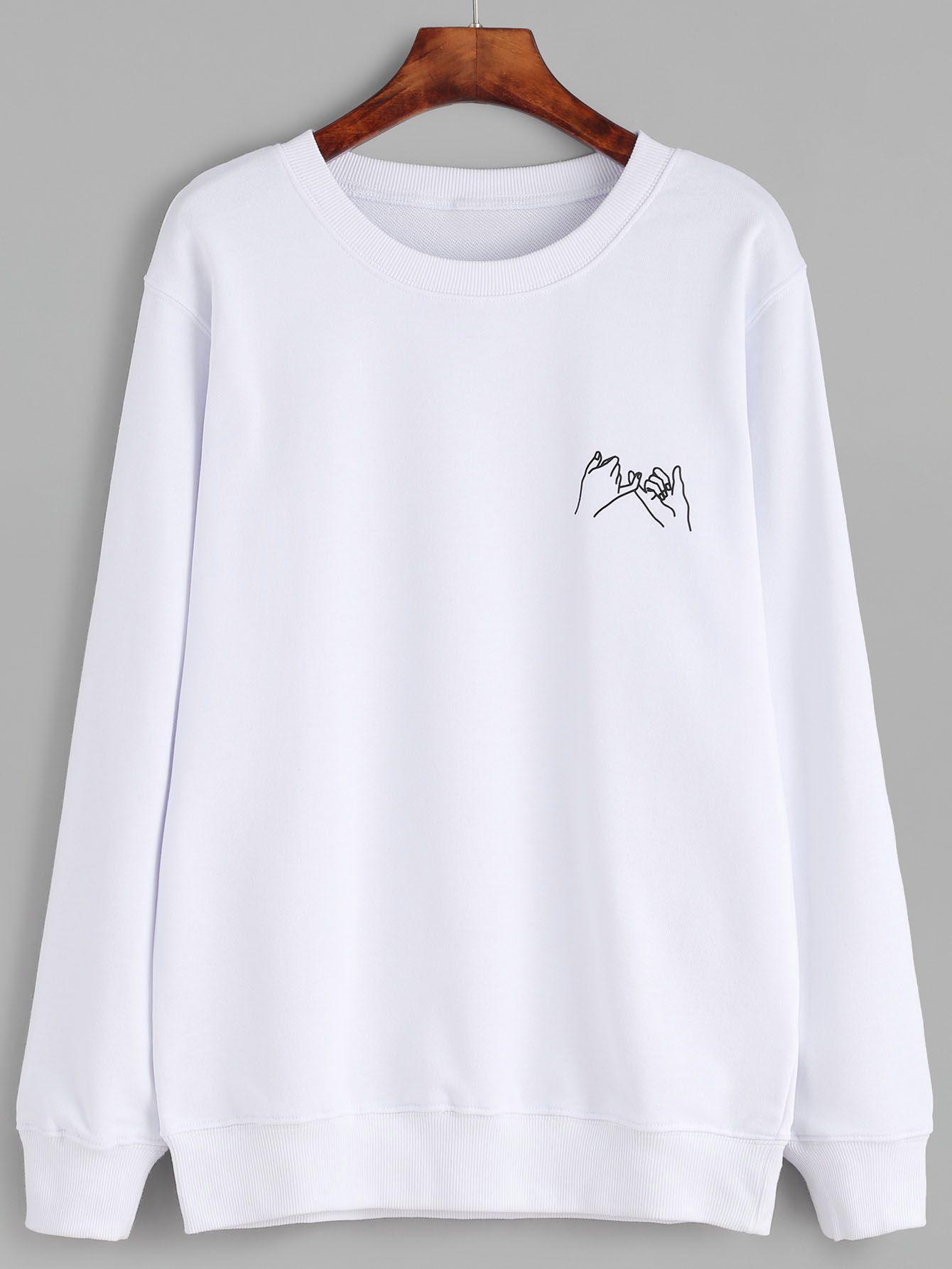 bd8c034b4fed White Gesture Print SweatshirtFor Women-romwe