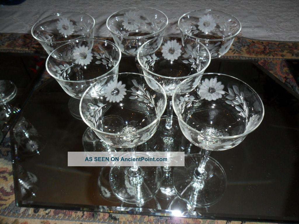 Vintage Crystal Etched Stemware Liquor Wine Cordial Glasses Lot 22 Pieces Etched Glassware Crystal Stemware Vintage Antique Glassware