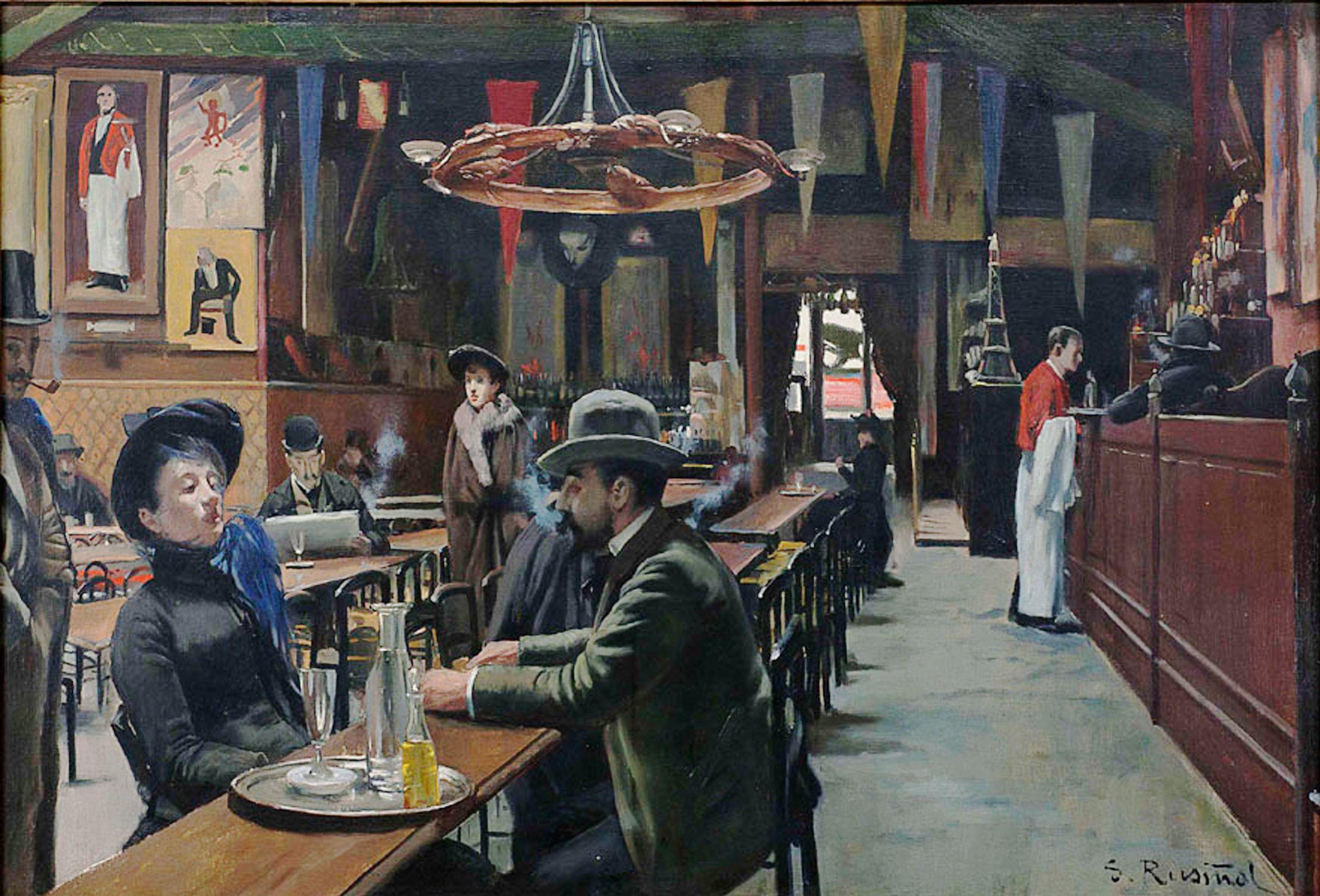 Café des Incohérents, Montmartre, 1890 par Santiago Rusinol (1861-1931)