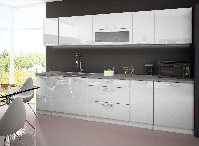 907 E Cuisine Complete 3m Laquee Blanc Avec Plan De Travail