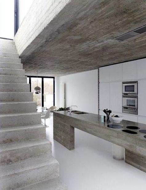 estrich-der fußboden im industrial style für moderne küche weiß - moderne küchen mit kochinsel