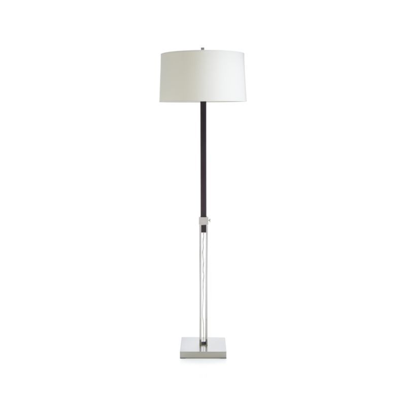 Denley Nickel Table Lamp with Black Wood Crate and Barrel