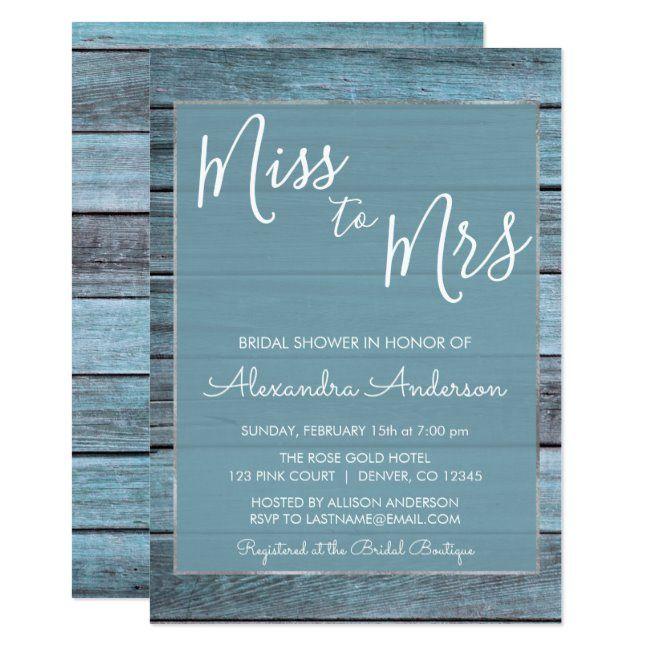 Aqua Blue Beach House Miss to Mrs Bridal Shower Invitation #beach #aqua #blue #wood #rustic #Invitation
