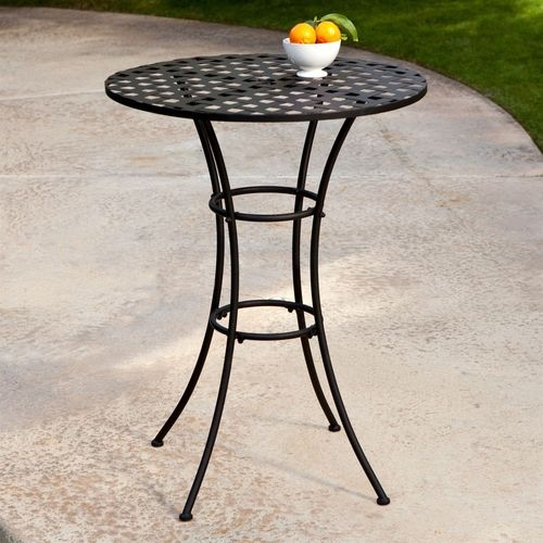 Black Wrought Iron Outdoor Bistro Patio Table, Round ... on Belham Living Wrought Iron Bar Height Bistro Set By Woodard id=93951