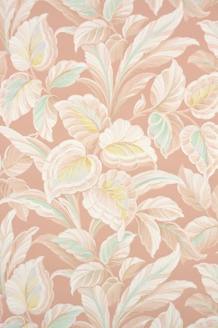 Peach And Pastel Botanical Vintage Wallpaper From The 1940s From
