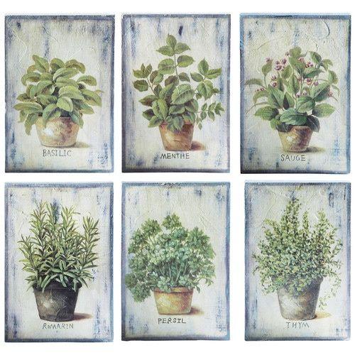 6 Quadri Verdi In Legno 20 X 30 Cm Aromates Mini Printables