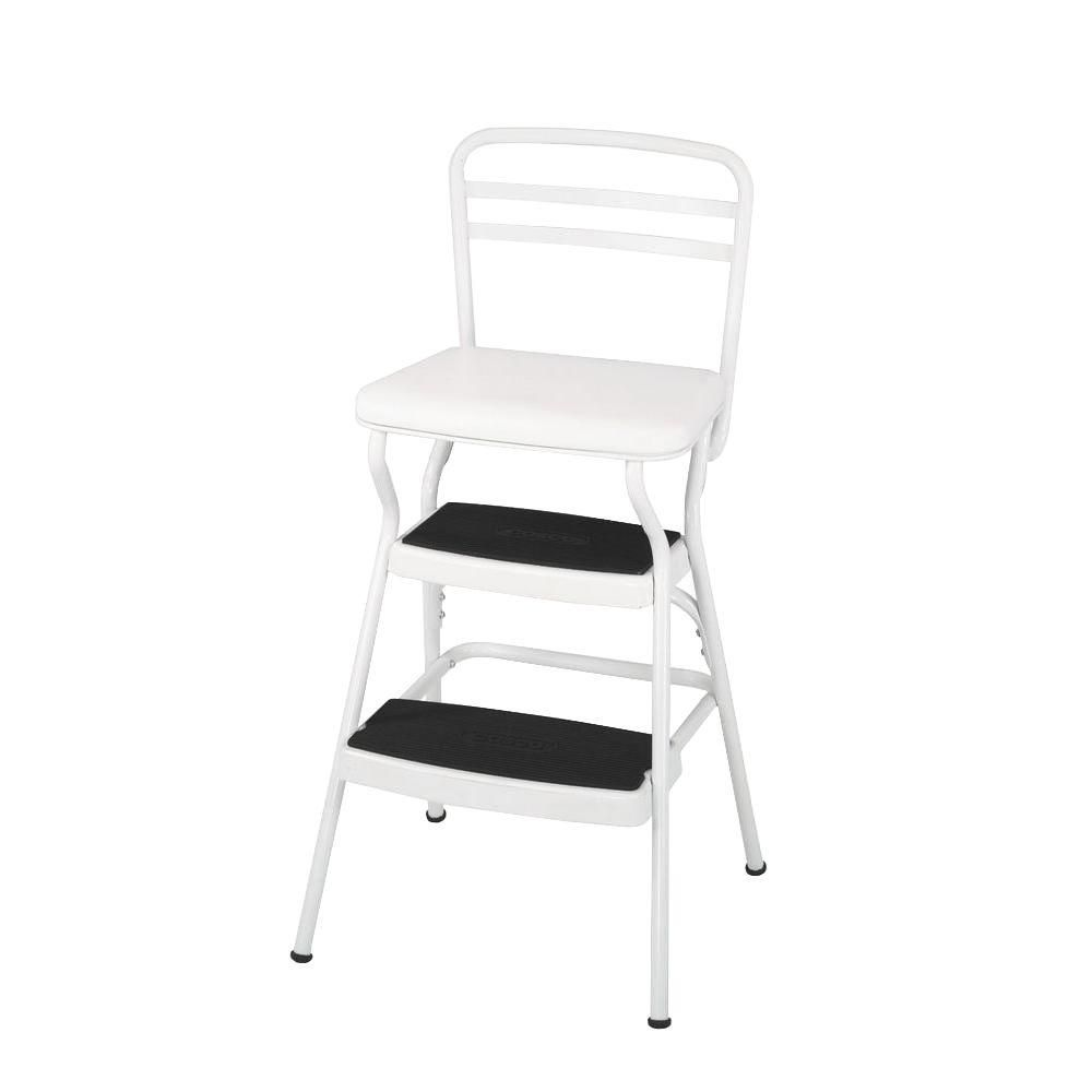 Cosco 225 Lb White Not Rated Chair Step Stool 11130whte Retro Bar Stools Kitchen Step Stool Retro Chair