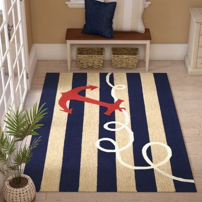 Breakwater Bay Berau Anchor Hand Tufted Navy Blue Indoor Outdoor Area Rug Rug Size Rectangle 2 6 X 4 In 2020 Area Rugs Blue Area Rugs Navy Blue Area Rug