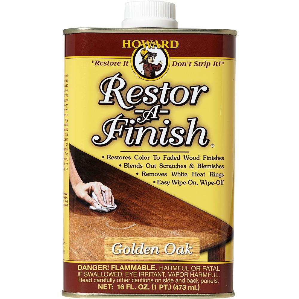 Howard Restor A Finish 16 Oz Golden Oak Rf3016 The Home Depot In 2020 It Is Finished Restore Wood Smoke Damage