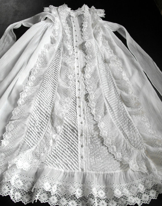 Antique French Christening Gown With Lavish By