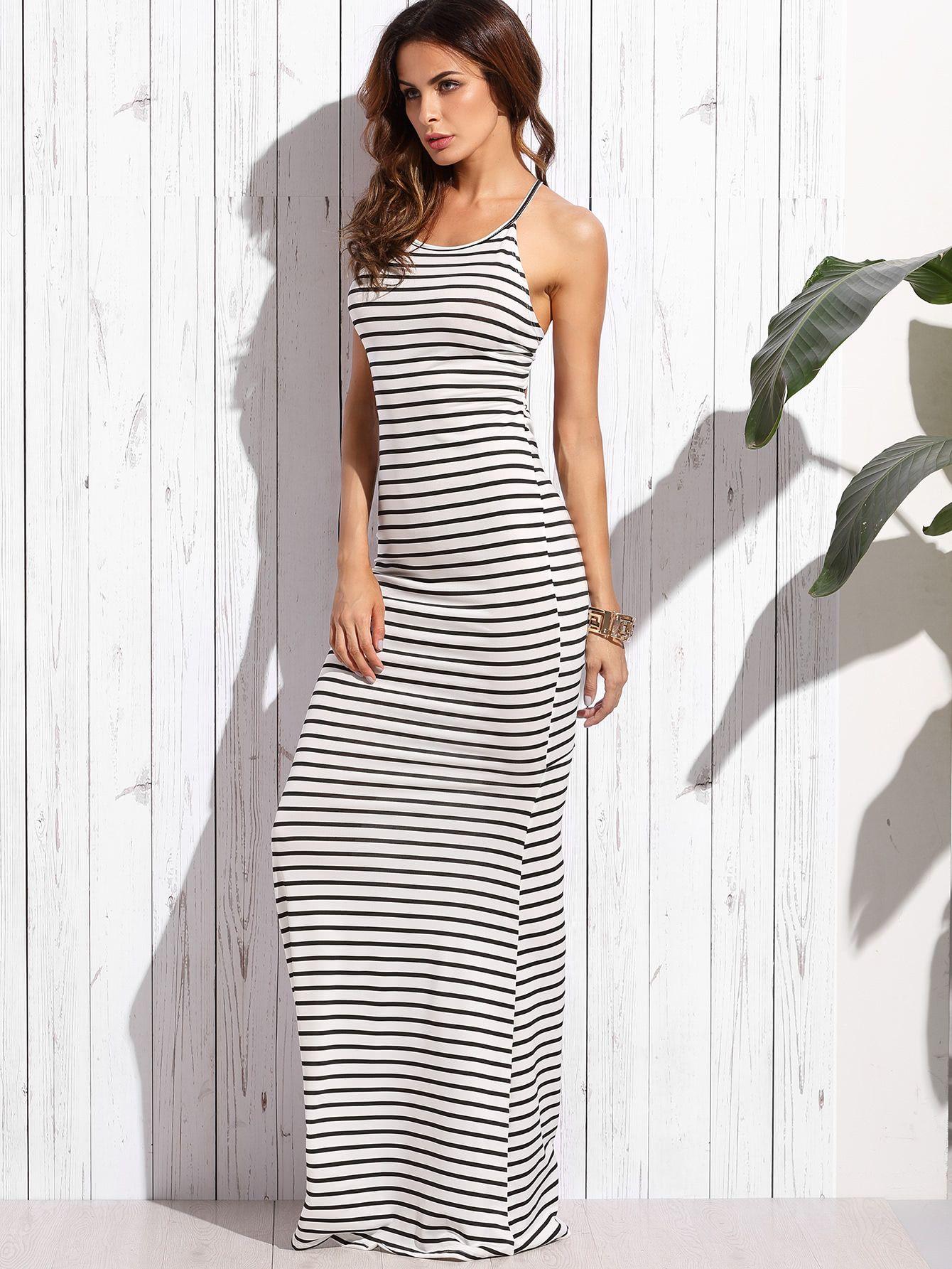 White striped crisscross shirred back maxi dress style pinterest
