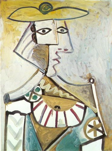 Pablo Picasso. Bust with a hat 1. 1971 year