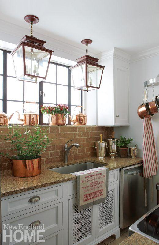 Darien Stone Cottage Kitchen with brick backsplash | Kitchen ...