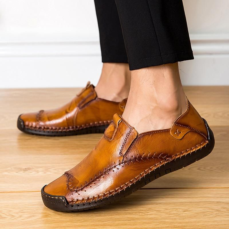 2019 Men/'s Driving Boat Shoes Cowhide Casual Shoes Stitches Slip On Loafers New