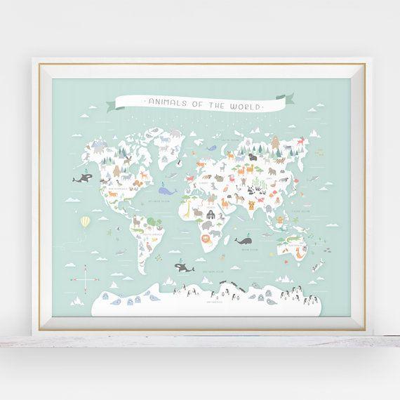 animal world map animal nursery art map nursery art my first map map of the world world map. Black Bedroom Furniture Sets. Home Design Ideas