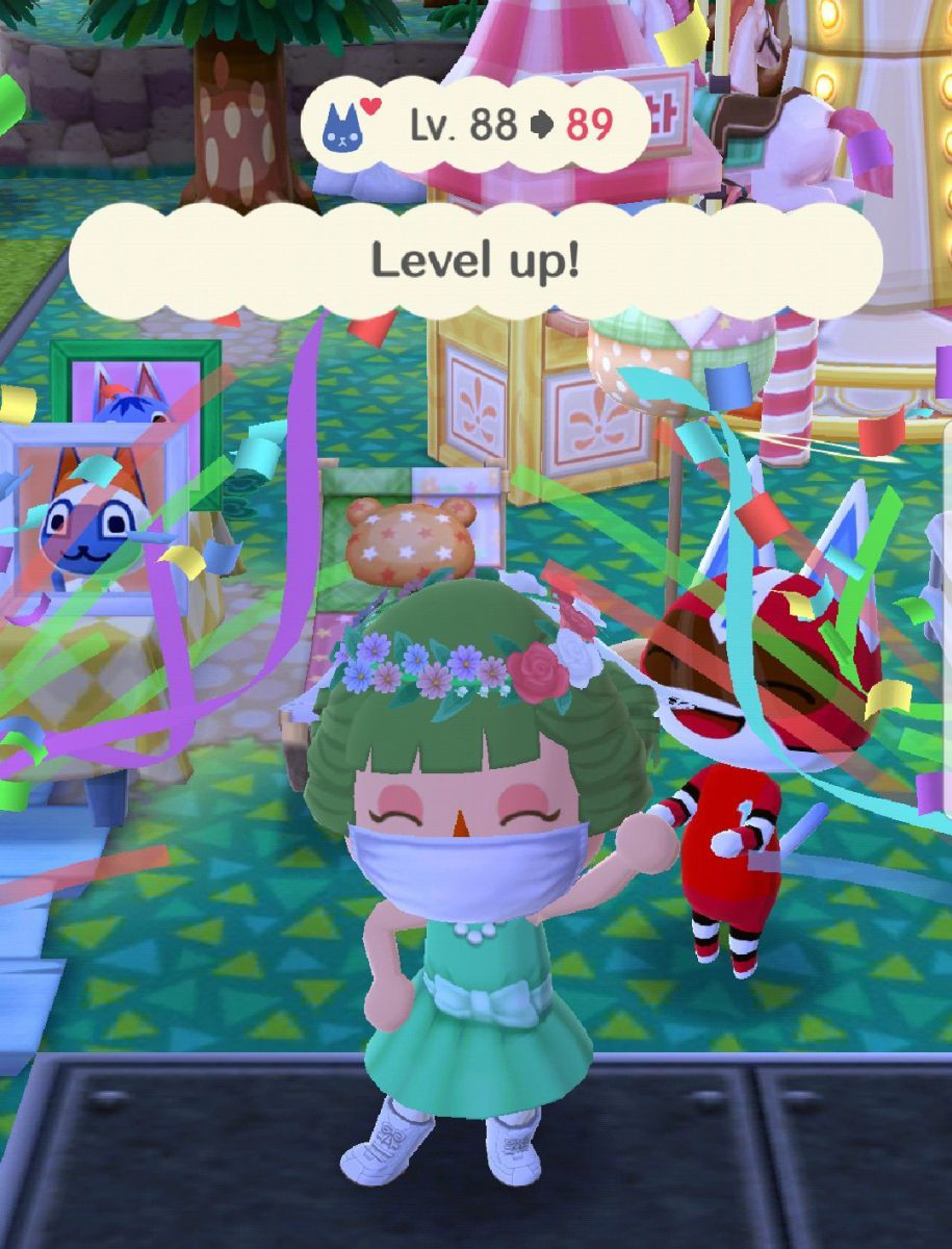 I Am Wearing The Flower Crown Veil Doctors Mask Wedding Party Dress White Stockings And Wedding Party Dresses Flower Crown Veil Animal Crossing Pocket Camp