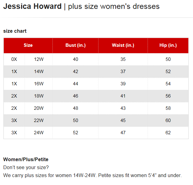 Jessica howard dresses plus size chart via macys brand name plus