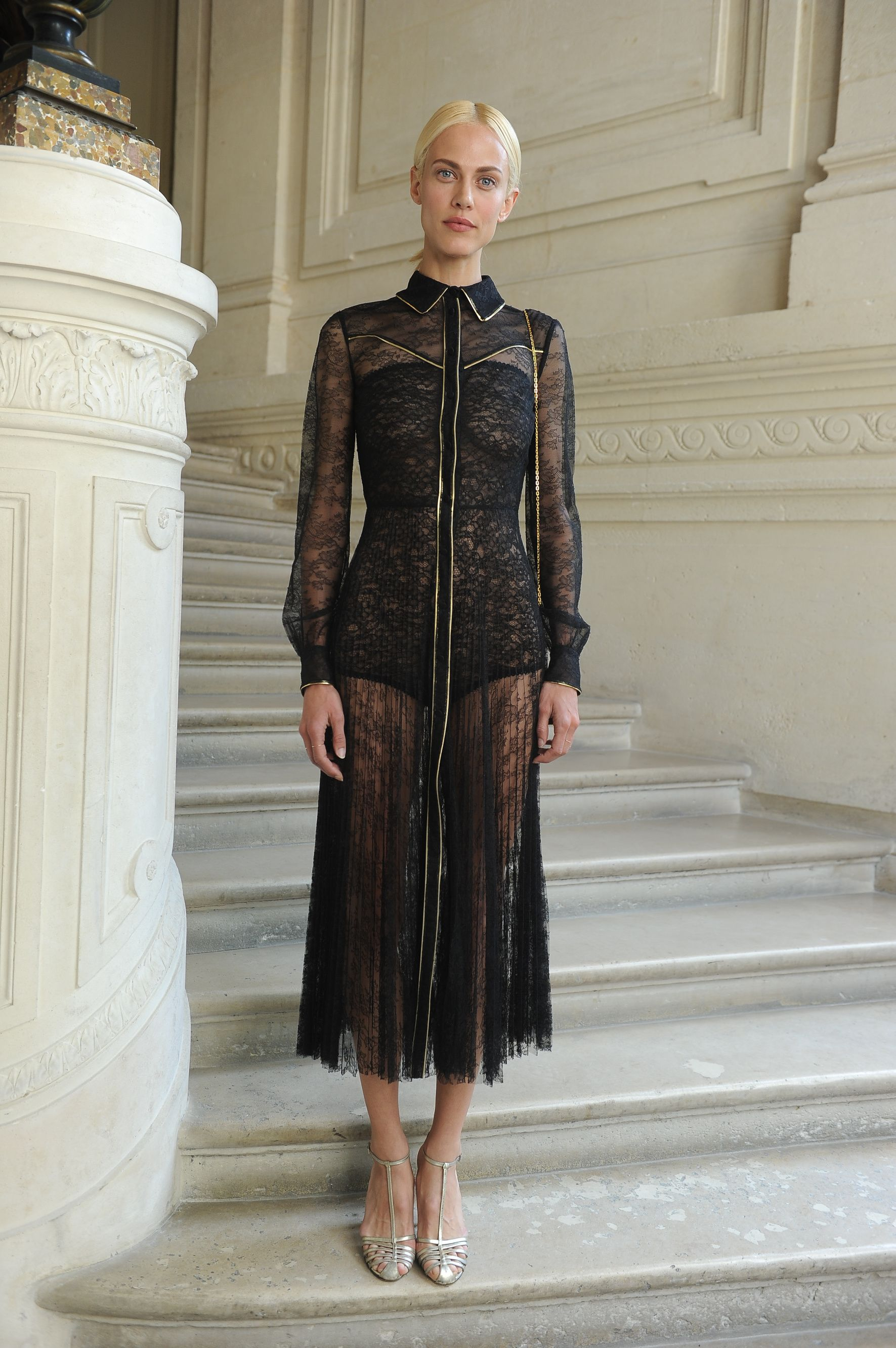 Aymeline Valade in a Valentino total look from the Fall 2016 Collection  to the Valentino Haute Couture Fall/Winter 2016 - 2017 Fashion Show on July 8th  2016.