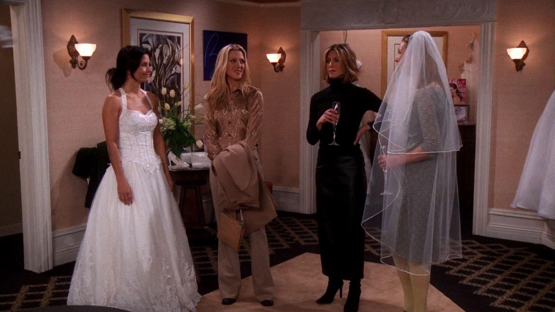 Monica Megan Rachel And Phoebe Friends 7x17 The One With A Cheap Wedding Dress Cheap Wedding Dress Wedding Dresses Wedding Dresses Lace [ 1080 x 1920 Pixel ]