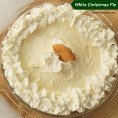 White Christmas Pie Recipe. This luscious, easy to make holiday pie is simply incredible. Spicy gingersnaps combine with sweet cream for a delicious dessert you will definitely want to save room for!