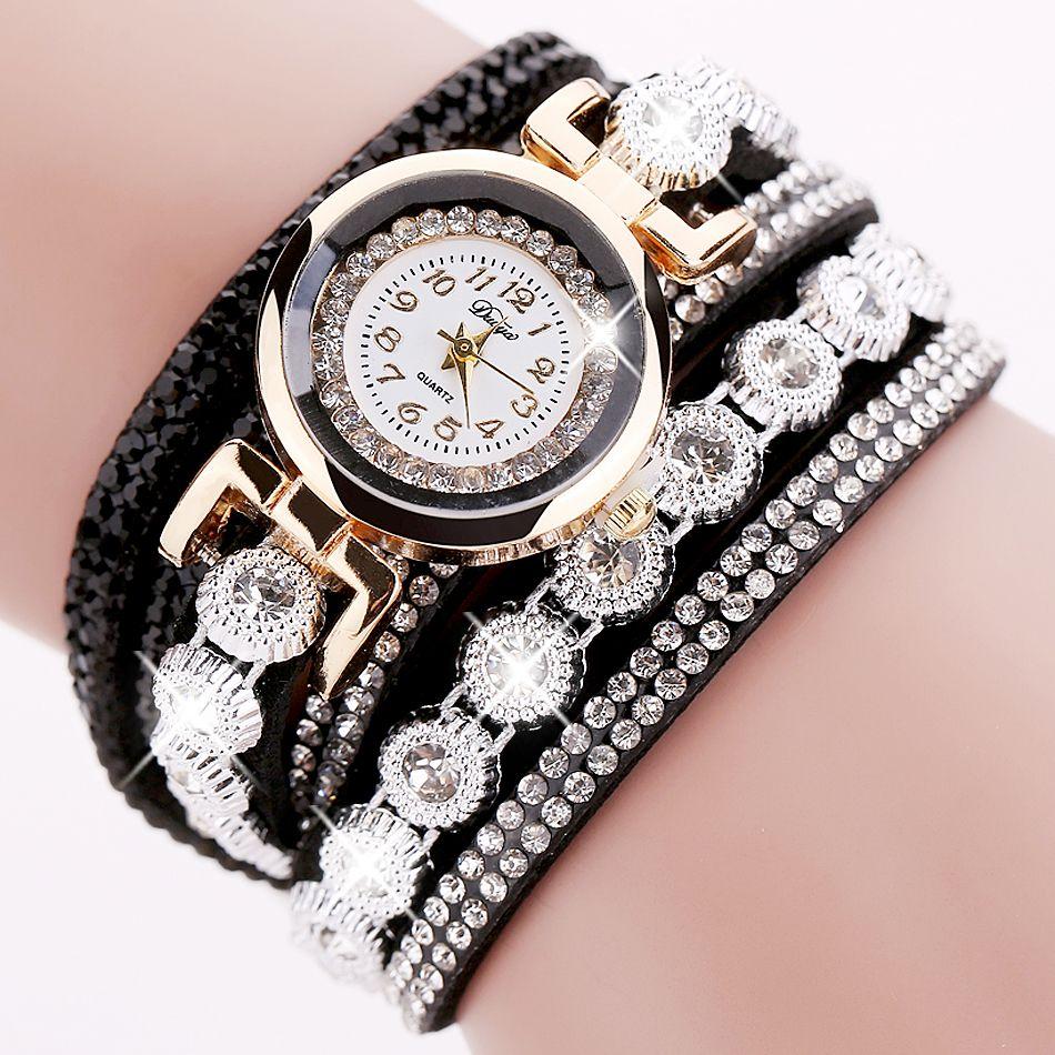 Duoya 브랜드 여성 팔찌 시계 2016 크리스탈 라운드 다이얼 럭셔리 손목 시계 여성 드레스 골드 숙녀 가죽 시계 시계