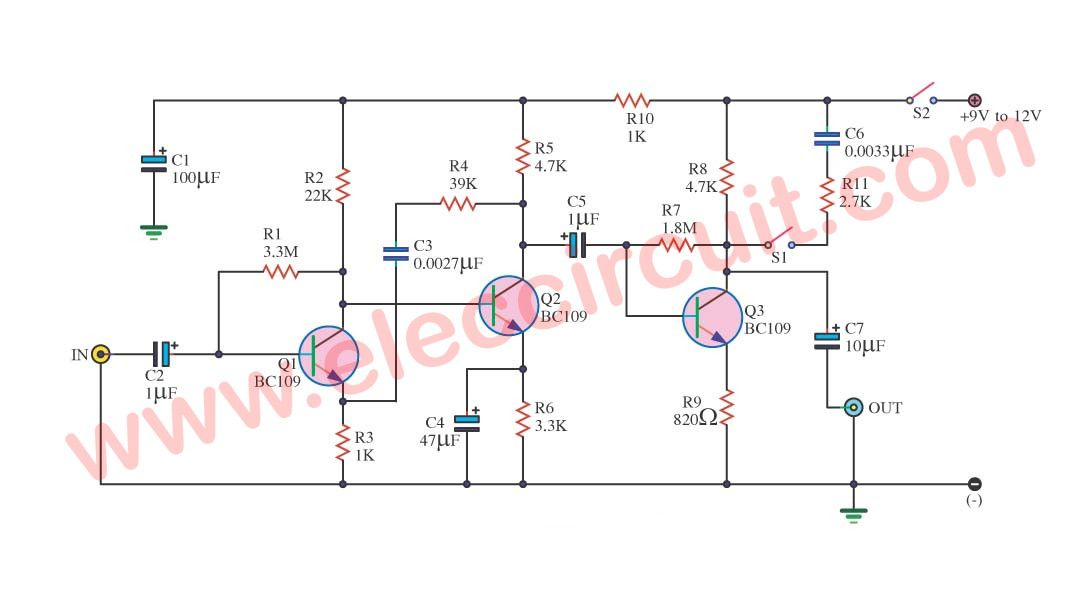 Simple Preamplifier Circuits By Transistors