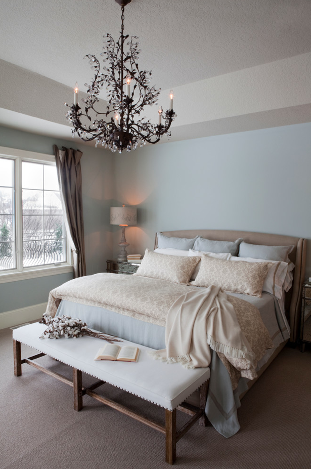 Bedroom Ideas Mesmerizing Traditional Remodel With Light Blue Wall Paint Color Also White Fabric Wooden Bench Gorgeous Chandelier Design