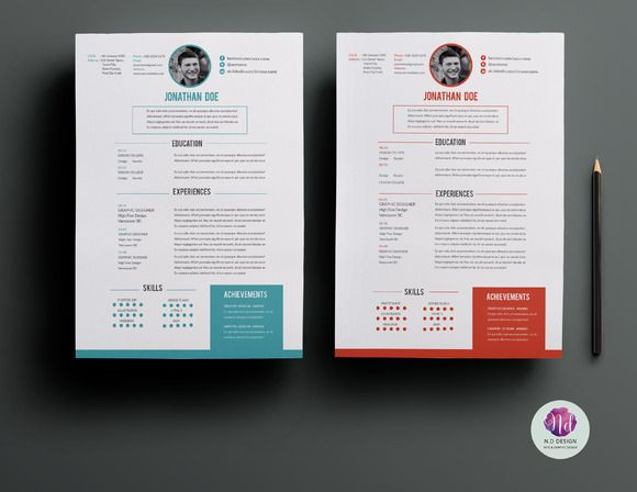 CV template ( 2 color options ) Cv template, Resume architecture - colorful resume templates