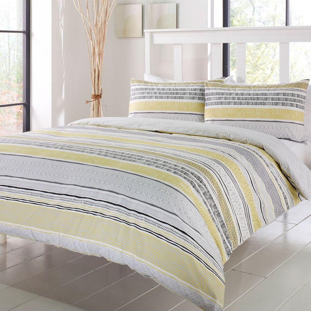 Tanami Linear Bedding Set, Ochre Bed design, Bed