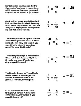 Proportions Word Problems Card Sort #1 (setting up and ...