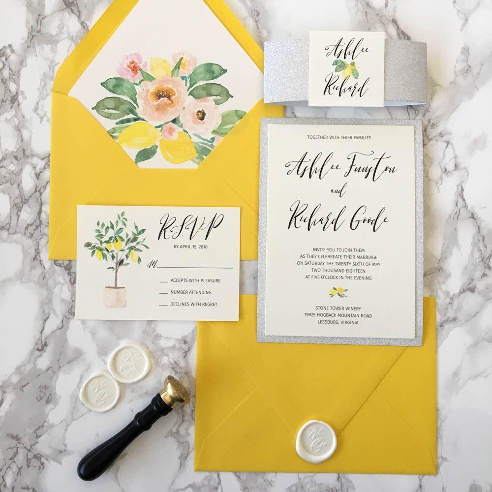 Lemon Yellow And Silver Glitter Wedding Invitation Cz Invitations Lemon Wedding Invitations Glitter Wedding Invitations Yellow Wedding Invitations