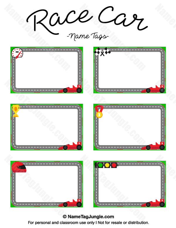 Name Plates For Cars >> Free printable race car name tags. The template can also