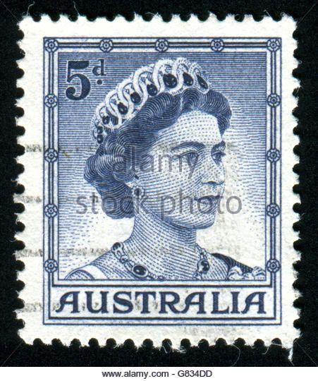 AUSTRALIA - CIRCA 1958: stamp printed by Australia, shows Queen Elizabeth II, circa 1958 - Stock Image