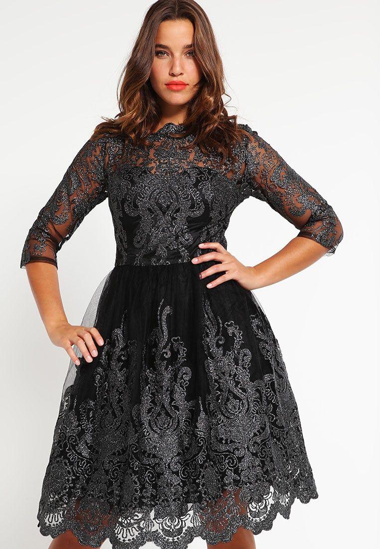 2be5bdc8894696 Balowe sukienki na studniówkę dla puszystych czarna z koronką ...