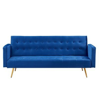 This convertible sofa brings a streamlined modern style into your space! This sofa is decorated with microfiber velvet and features a backrest, tracking arms and tapered plastic legs. The tufted backrest provides a tailored touch, while the foam and fibre cushions provide additional comfort and support. | Everly Quinn Modern Multifunctional Sofa Blue 30.0 x 76.0 x 31.0 in, Velvet | C006589750_1660681434 | Wayfair Canada
