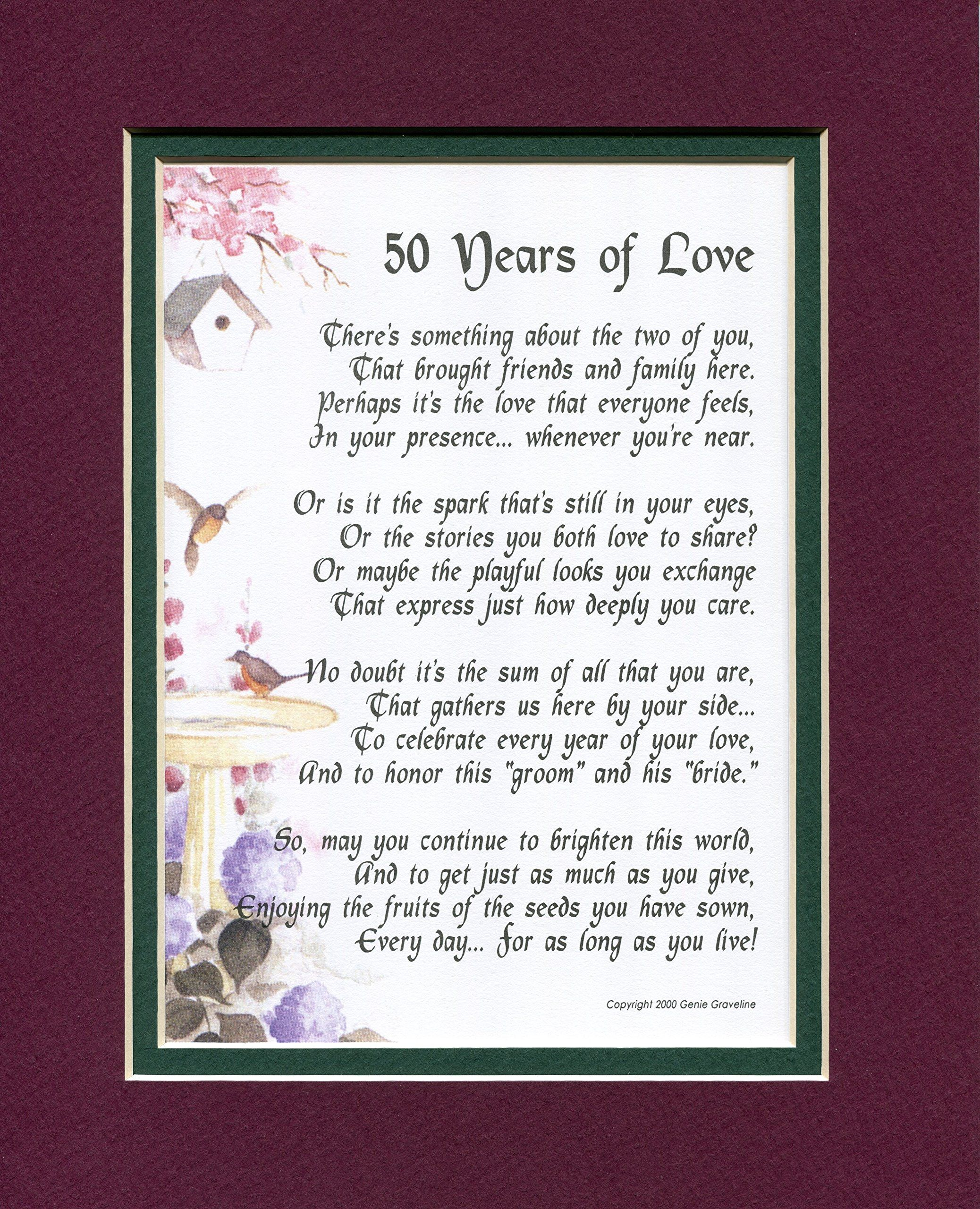 Years Of Love  Touching Poem A Gift For A Th Wedding Anniversary Double Matted In Burgundy Dark Green And Enhanced With Watercolor Graphics