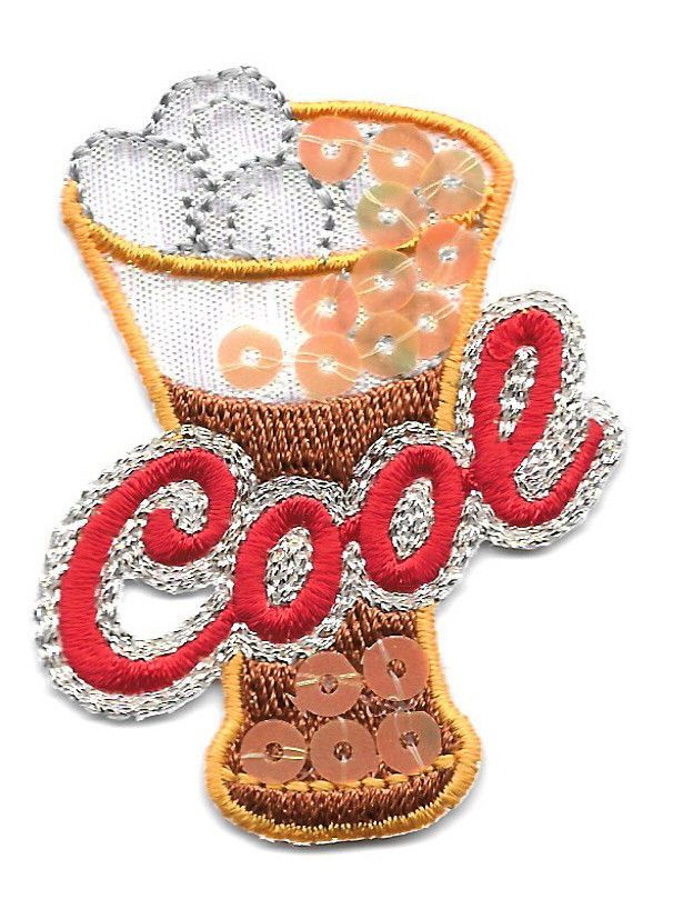 Drink Cool Ice Cold Soda Embroidered Sequined Iron On Patch Crafts
