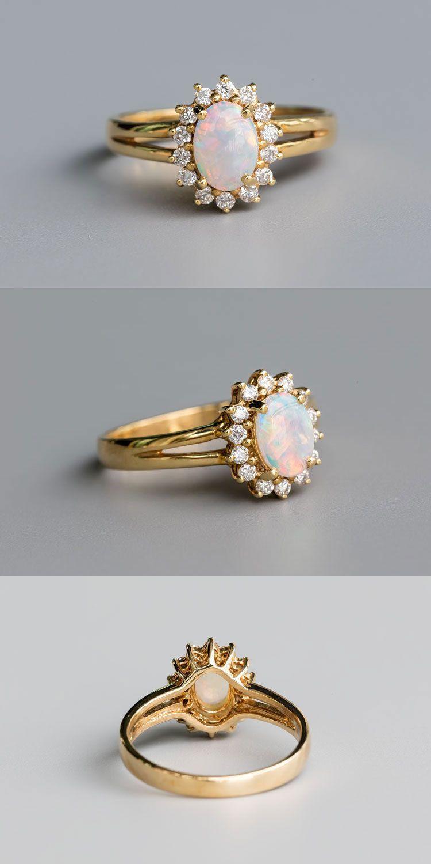 Stunning Flower Design Australian Opal Diamond Engagement Wedding Ring 14k Gold Vintage Gold Engagement Rings Morganite Engagement Ring Rose Gold Vintage Engagement Rings