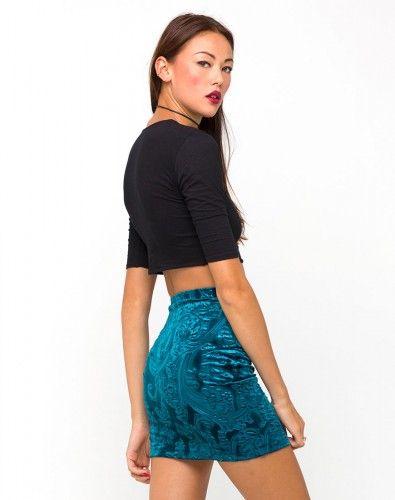 83c4916f2 Mini falda azul terciopelo en @Motel Rocks | S-formal | Terciopelo ...