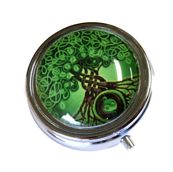 Silver Round Pill Box with Glass Cab Celtic by TAKUniqueDesigns