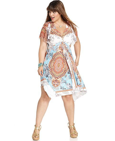 One World Plus Size Dress, Short-Sleeve Printed Crochet - Plus Size ...