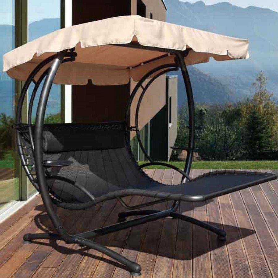 Furniture: Marvellous Garden Swing Design Ideas With Cream Umbrella Black  Metals Material Design Ideas: