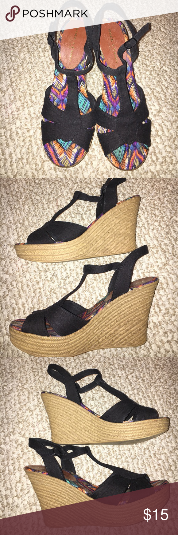Rock Candy Wedges Rock Candy Wedges-Black straps with tan wedge, great condition, minor wear on the front and bottom. Very comfortable, extremely light. Rock Candy Shoes Wedges